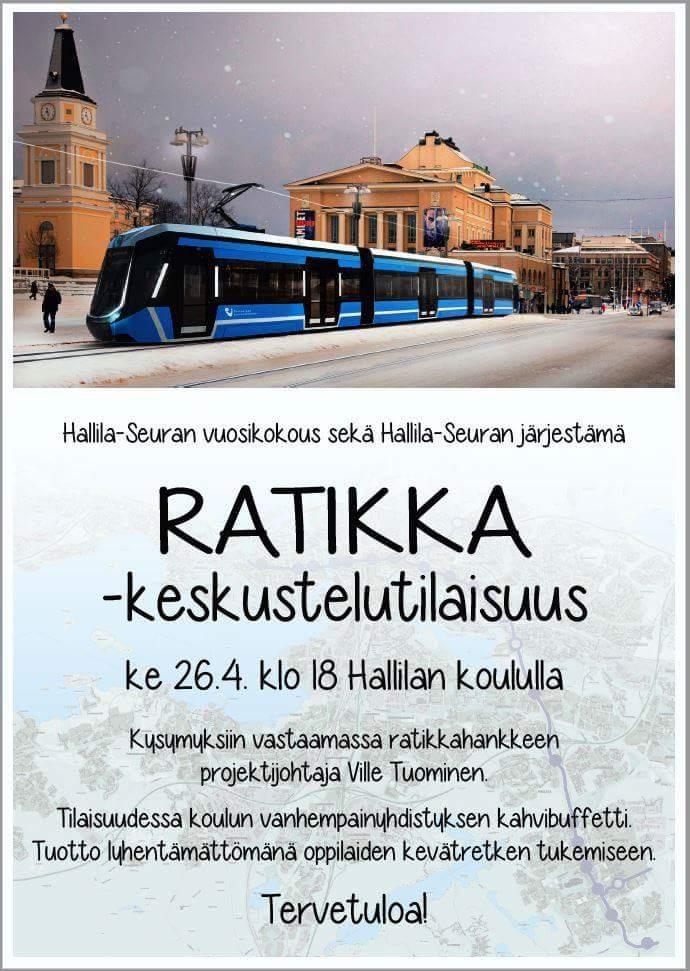 Ratikka-keskustelutilaisuus Hallillan koululla 26.4.