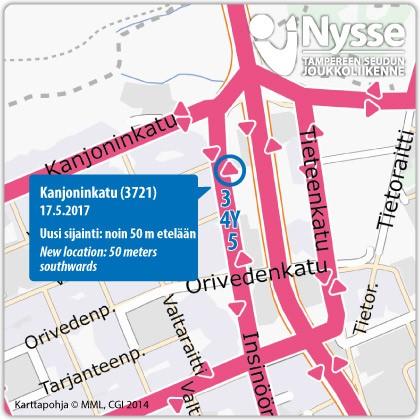 Insinöörinkadun pohjoispään pysäkki Kanjoninkatu (3721) siirtyy keskiviikkona 17.5.2017 noin 50 metriä etelämmäksi