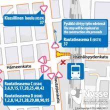 Pysäkkimuutoksia rautatieasemalla 5.6.