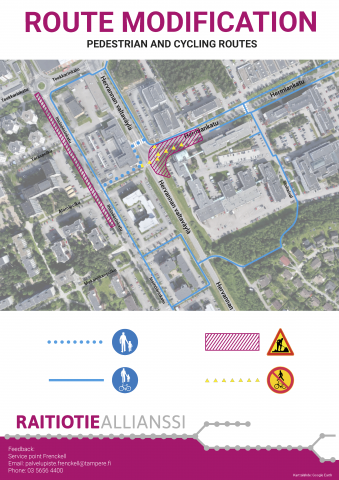 Recommended routes around Hermiankatu