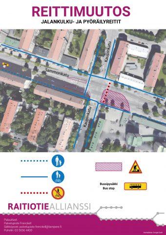 Kaupinkatu - Sammonkatu jalankulkijoiden opastekuva