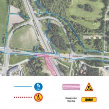 Nekalantien ja Sotilaankadun yhdistävällä Kokin risteyssillalla uusia liikennejärjestelyjä ja kulkureittejä