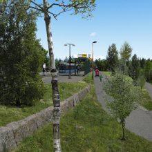 - Hallilan raitiovaunupysäkin ympäristö, puustomainen vaihtoehto. Kuva: Tampereen kaupunki/Villi Vyöhyke ry