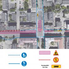 Raitiotietöistä muutoksia liikennejärjestelyihin Tammelan puistokadun ja Itsenäisyydenkadun risteyksessä