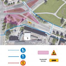 Jalankulkijoille ja pyöräilijöille kulkureittimuutoksia Sammonkadulla
