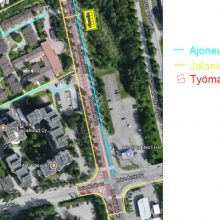 Raitiotien rakentamistöistä liikennemuutoksia Hervantaan Insinöörinkadulle ja Hermiankadulle