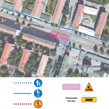 Raitiotien rakentamisesta liikennejärjestelyjä Sammonkadun ja Kaupinkadun liittymään