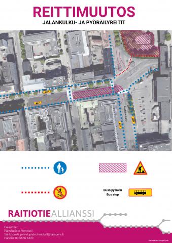 Jalankulku-ja pyöräilyreitit Hämeenkadun itäpäässä ja Rautatienkadulla