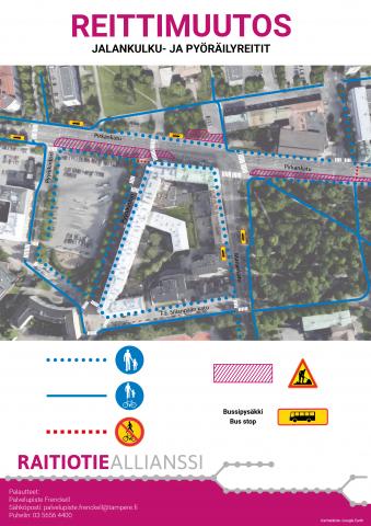 Jalankulku-ja pyöräilyreitit Pyynikintorin ympäristössä 21.2.alkaen