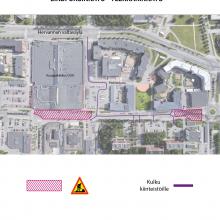 Insinöörinkatu välillä Lindforsinkatu – Teekkarinkatu suljettu läpiajoliikenteeltä