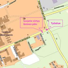 Hermiankadun ja Hervannantien risteykseen liikennejärjestelyjä raitiotietöistä