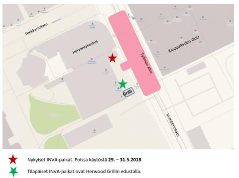 Hervantakeskuksen INVA-paikkojen tilapäinen sijainti 29.- 31.5.2018 välisenä aikana