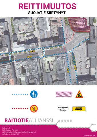 Hämeenkadun itäpäässä suojatiet ja bussipysäkit siirtyvät 3.7.