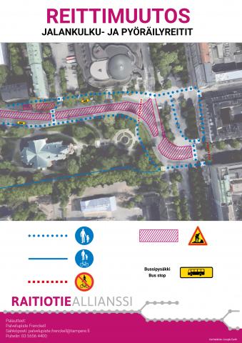 Jalankulkijoiden reitit Hämeenpuiston ja Pirkankadun liittymässä viikosta 27 alkaen