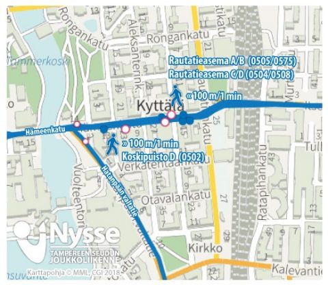 Bussipysäkkimuutoksia Hämeenkadulla Koskipuistossa ja Rautatieaseman pysäkeillä