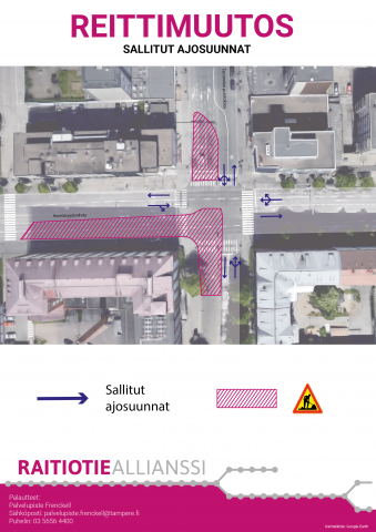 Sallitut ajosuunnat Itsenäisyydenkadun ja Tammelan puistokadun/Yliopistonkadun risteyksessä