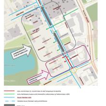 Raitiotien rakentamisesta muutoksia liikennejärjestelyihin Insinöörinkadulla ja Teekkarinkadulla
