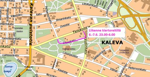 Teiskontien liikenteelle kiertoreitti 6.-7.6. klo 23.00-6.00