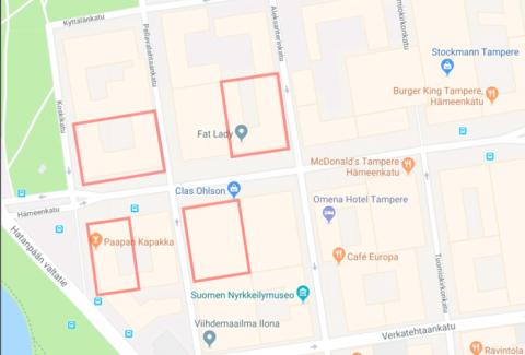 Vesikatkoalueet Hameenkadun itäpäässä 25.-26.6.