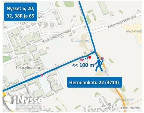 Bussipysäkki Hermiankadulla siirtyy 31.7.