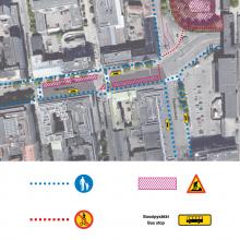 Hämeenkadun itäpään raitiotietöistä muutoksia bussipysäkkeihin ja jalankulkuun