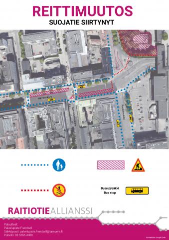 Hämeenkadun itäpäässä suojatie-ja bussipysäkkimuutoksia viikolla 33