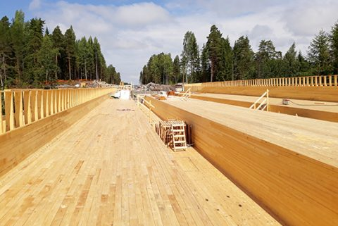 Hervannan kanjonin ylittävän Koivusenojan sillan muotti 5.7.2018.