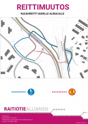 Jalankulku-ja pyöräilyreittien muutos Hallilassa Pehkusuonkadun alueella 15.10. alkaen