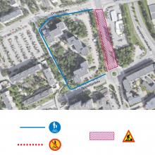Insinöörinkadun jalankulku-ja pyöräilyreitteihin muutoksia raitiotietöistä keskiviikkona 10.10.