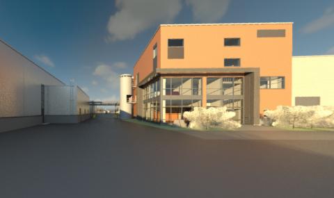 Varikon toimisto-osa ja rakennusten välinen kulkuyhteys. Havainnekuva: Poyry Finland Oy