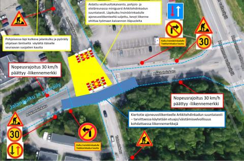 Insinöörinkadun ja Arkkitehdinkadun liittymässä liikennejärjestelyjä viikosta 48 alkaen