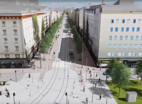 Hämeenkatu ja Tuulensuu havainnekuvassa. Havainnevideo: Tampereen kaupunki