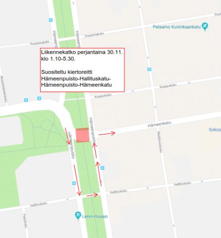 Hämeenpuistossa liikennekatko yöaikaan 29.-30.11. Kiertoreitti liikennekatkon ajan