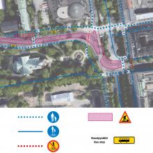 Hämeenpuiston alueen jalankulku-ja pyöräilyreitit 3.12. alkaen