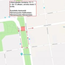 Hämeenpuistossa liikennekatko torstaina 15.11.