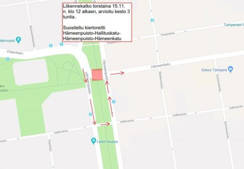 Hämeenpuiston kohdalla liikennekatko torstaina 15.11. Joukkoliikenne kiertoreitillä noin klo 12.00-15.00