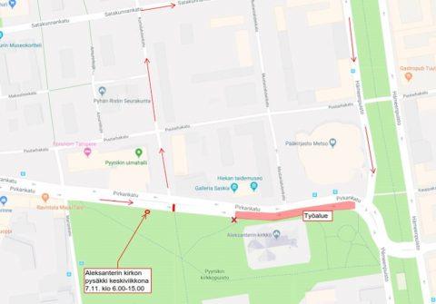 Pirkankadulla on asfaltointitöiden aikana liikennekatko keskiviikkona 7.11. klo 6-15
