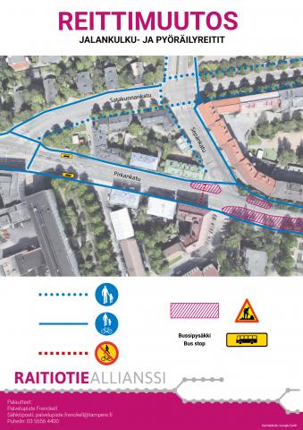 Pirkankadun ja Sepänkadun liittymään uusia liikennejärjestelyjä lähiviikkoina