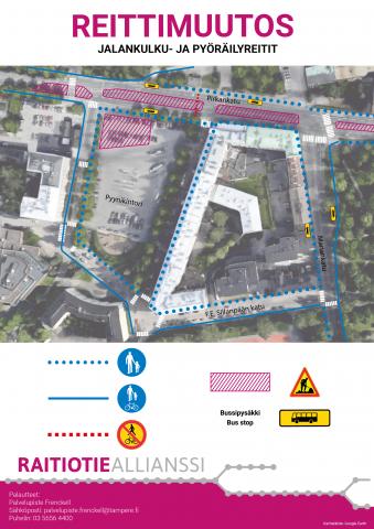 Pyynikintorin itäpuolella otettu suojatie jälleen käyttöön- jalankulku-ja pyöräilyväylät alueella 22.11. alkaen