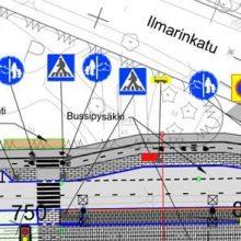 Jalankulku-ja pyörätie hyväksytyssä katusuunnitelmassa