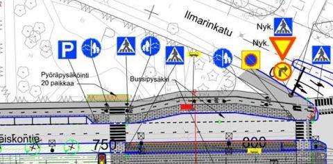 Jalankulku-ja pyörätie katusuunnitelmassa