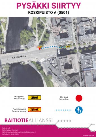 Koskipuiston bussipysäkkiä siirretään viikolla 2/2019