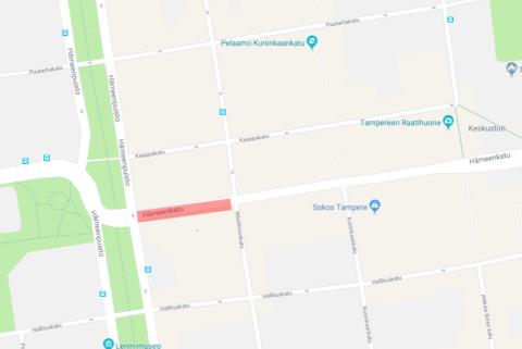 Hämeenkadulla Tuulensuussa liikennekatko torstain ja perjantain välisenä yönä 13.-14.12.
