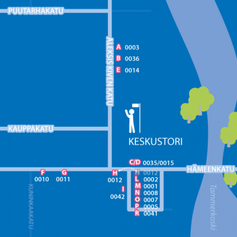 Keskustorilla bussipysäkkimuutoksia 17.1. Kuva: Tampereen seudun joukkoliikenne