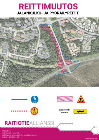 Ruskontien ja Tohtorinpuiston ympäristössä muutoksia kulkureitteihin ja bussipysäkkiin