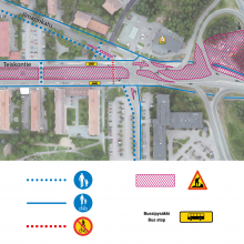 Kalevassa valmistellaan kesän raitiotietöitä liikennejärjestelyjen muutoksilla