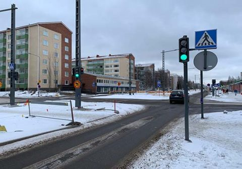 Sammonkadulla on otettu käyttöön liikennevaloja useassa risteyksessä