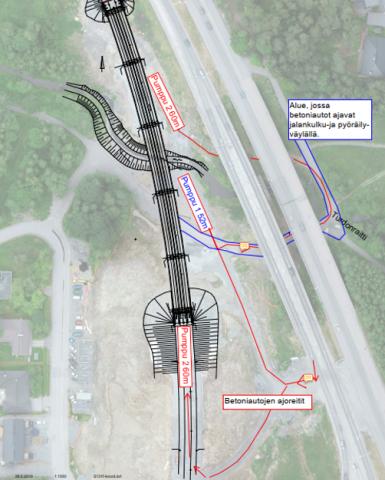 Hallinojan ratasillan valutöiden aikana alueella poikkeavaa liikennettä ja jalankulku-ja pyöräilyväylillä liikenteenohjausta 9.-10.4.