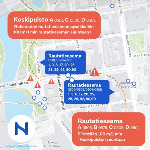 Hämeenkadun itäpäässä bussipysäkkimuutoksia 3.6. Kuva: Tampereen seudun joukkoliikenne