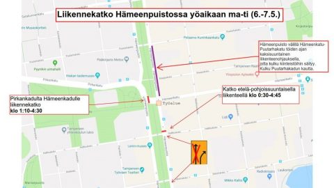 Hämeenpuistossa liikenteessä poikkeuksia 6.-7.5.